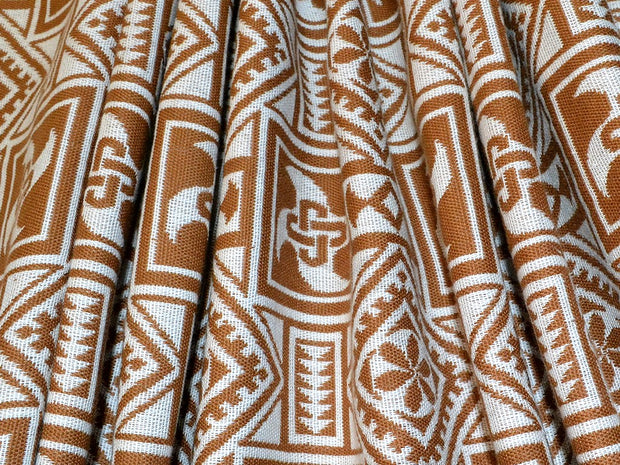 White Brown Geometric Cotton Jacquard Fabric | The Design Cart