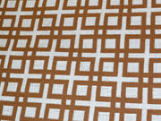 Brown White Geometric Cotton Jacquard Fabric | The Design Cart