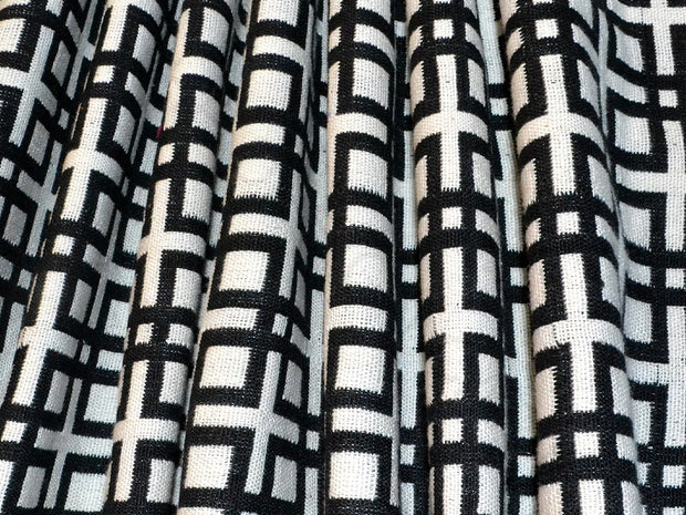 Black White Geometric Cotton Jacquard Fabric | The Design Cart