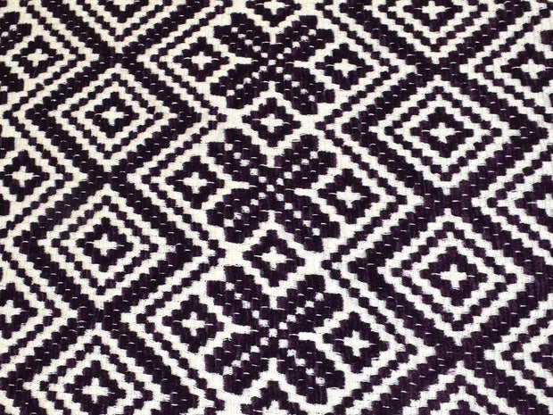 Violet White Geometric Cotton Jacquard Fabric | The Design Cart