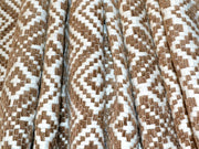 Brown White Geometric Design Cotton Jacquard Fabric | The Design Cart