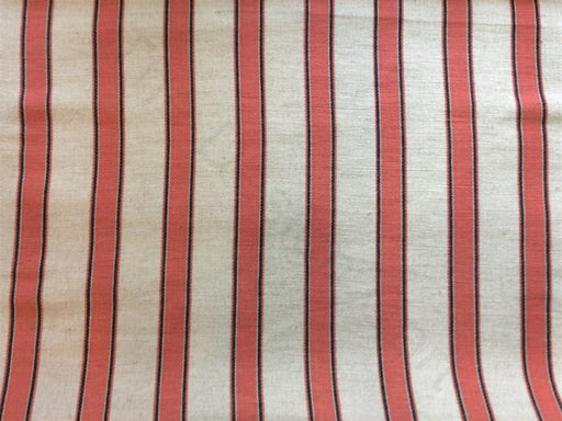 Off White Pink Cotton Jute Blend Stripe Dari Fabric