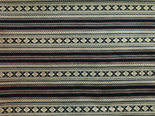Brown Black Stripes Cotton Polyester Blend Jacquard Fabric