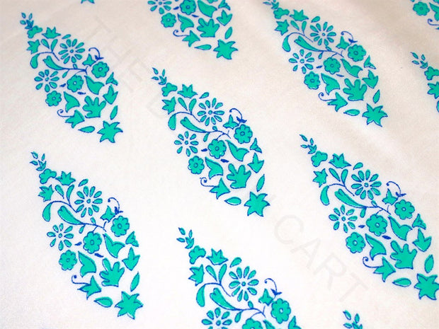White Blue Floral Motifs Polyester Chanderi Fabric | The Design Cart (4263316193349)