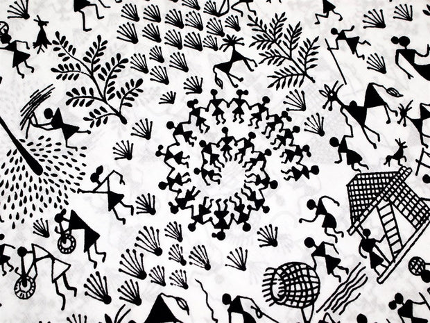 White Black Warli Print Cotton Fabric | The Design Cart