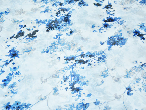 White Blue Flowers Digital Printed Georgette Fabric (4554867179589)