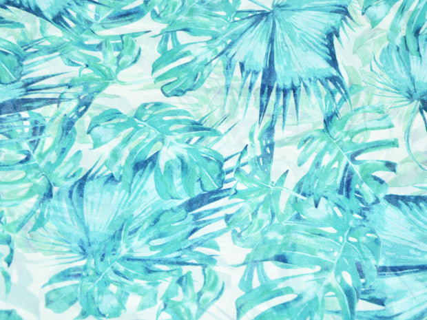 Sea Green Leaves Digital Printed Georgette Fabric (4554869047365)