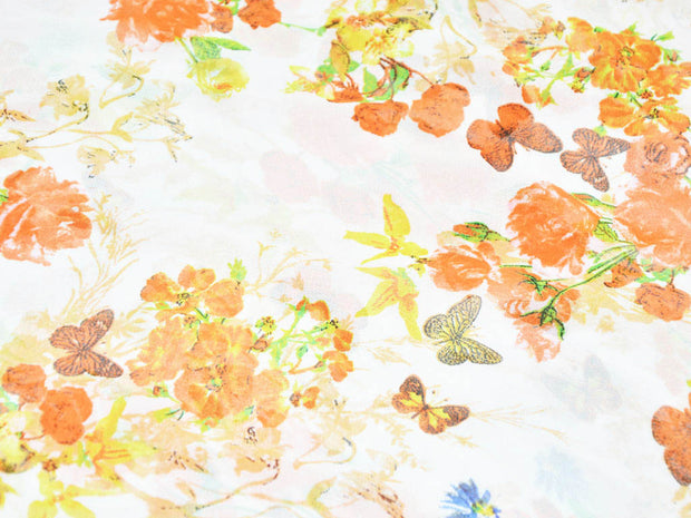 White Orange Floral Digital Printed Georgette Fabric (4554885070917)