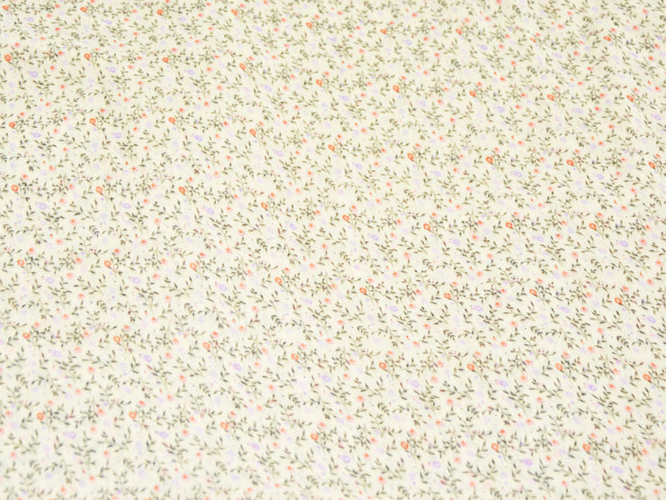 Light Peach Floral Digital Printed Georgette Fabric (4550526894149)