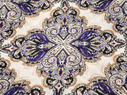 Off White Purple Floral Digital Printed Poly Georgette Fabric (4550296633413)