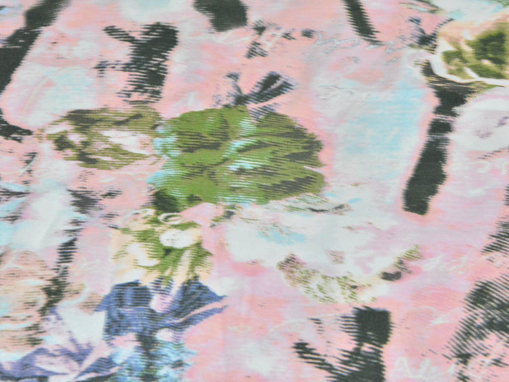 Pink Abstract Printed Moss Crepe Fabric