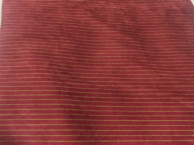 Red Golden Stripes Printed Corduroy Fabric | The Design Cart