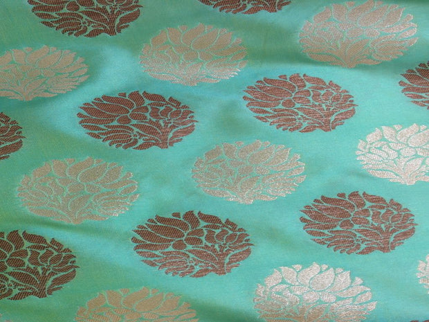Light Blue Flower Design Polyester Brocade Fabric | The Design Cart