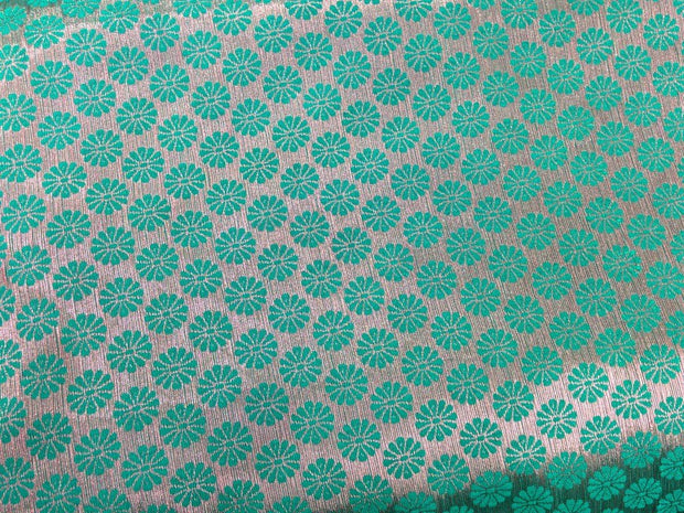 Sea Green Flower Design Polyester Brocade Fabric