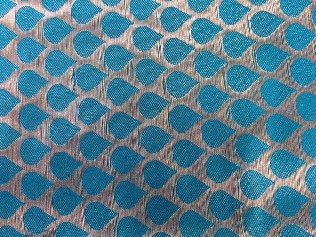 Blue Drops Design Polyester Brocade Fabric