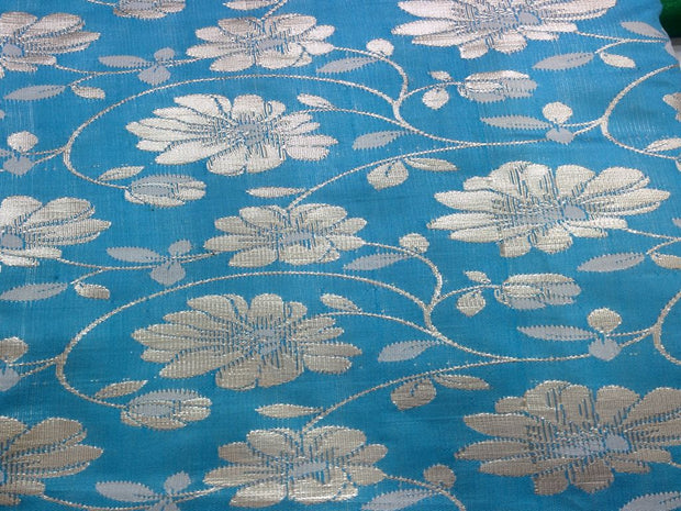 Blue Floral Design Polyester Brocade Fabric | The Design Cart