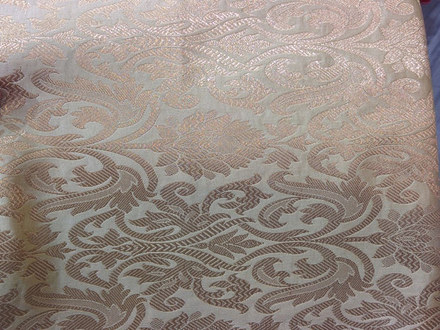 Golden Floral Design Brocade Silk Fabric