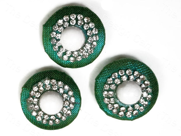 Green Embellished Fabric Buttons (1663203541026)