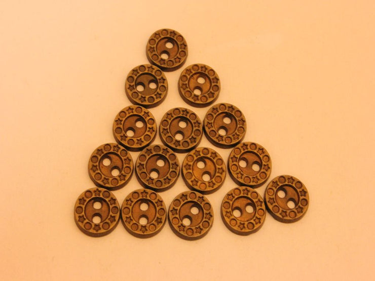 Antique Golden 2 Hole Designer Metal Button (4534044164165)