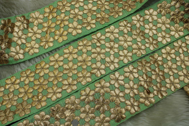 Light Green Floral Gota Work Lace Border