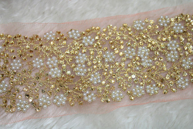 Light Pink Fancy Pearl and Stone Work Lace Border | The Design Cart