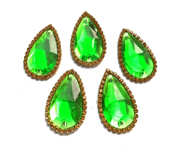 Large Drop Shape Green Stone Patches | The Design Cart (4365514735685)