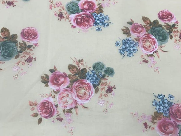 Light Beige Pink Blue Flowers Printed Organza Fabric