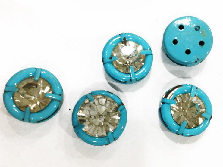 Light Blue Circular Metal Button with Glass Stone (14 mm) (4546680848453)