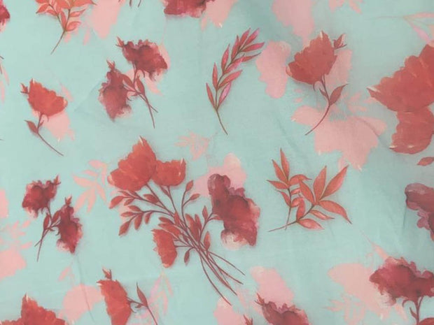 Light Blue Red Flowers Printed Organza Fabric