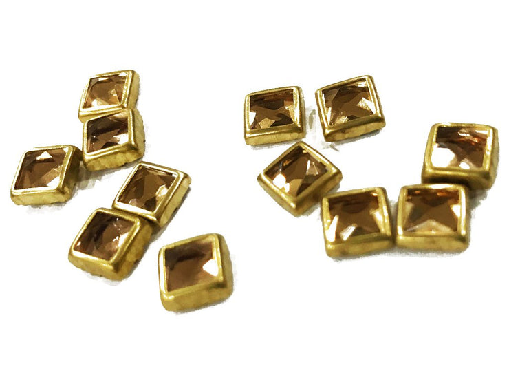 Light Golden Opaque Square Kundan Stone (6x6 mm) (4532469399621)