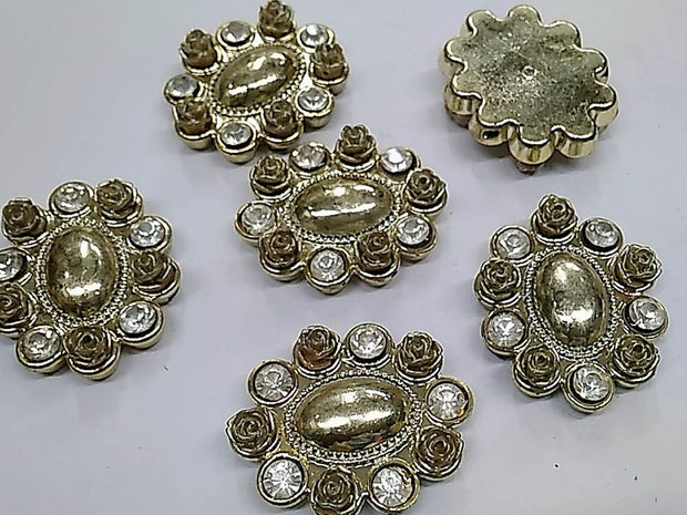 Light Golden Oval Flower Plastic Stone with Resin Flowers and Glass Stones- 40x32 mm