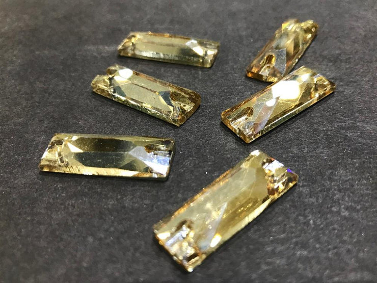 Light Golden Rectangular Glass Stones (25x10 mm) (4521835462725)