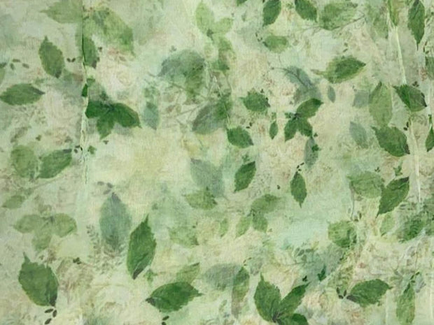 Light Green Leaves Printed Organza Fabric