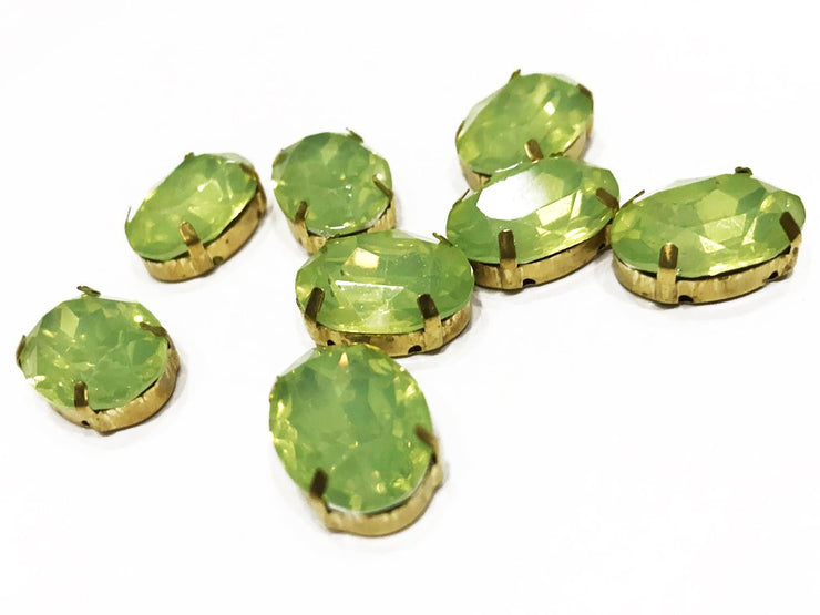 Light Green Opal Oval Resin Stones with Catcher (18x13 mm) (4539520581701)