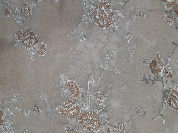 Light Peach Flowers Embroidered Cotton Jute Fabric