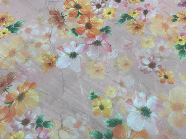 Light Pink Flowers Printed Organza Fabric