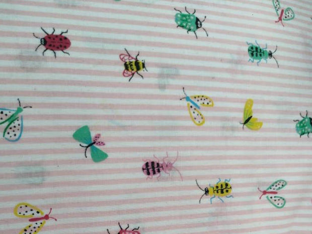 Light Pink Stripes Insects Printed Poplin Cotton Fabric