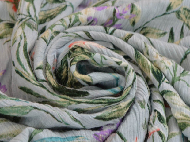 Light Sea Green Floral Digital Printed Crinkled Viscose Crepe Fabric