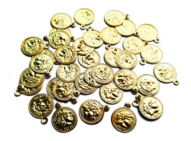 Golden Coin Charms (10 mm)