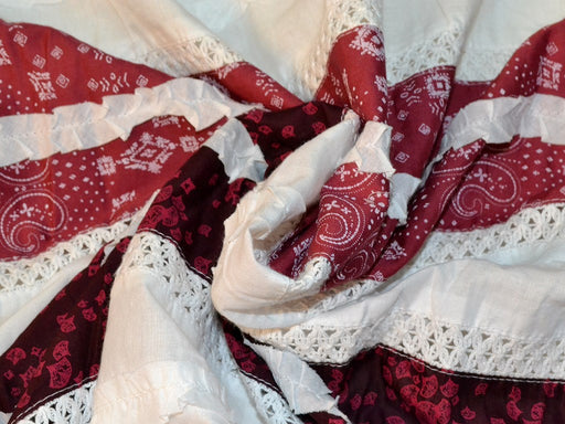 Maroon Red Paisley Floral Patchwork Cotton Fabric