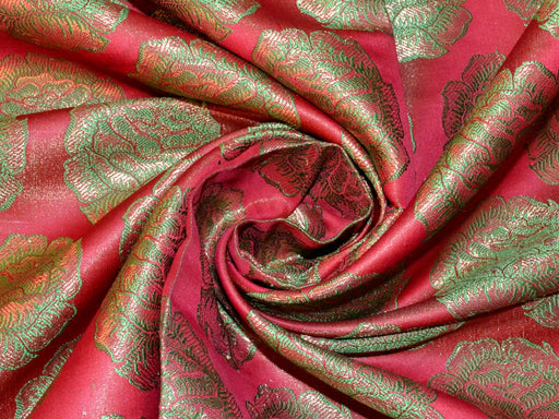Maroon Green Rose Banarasi Brocade Fabric