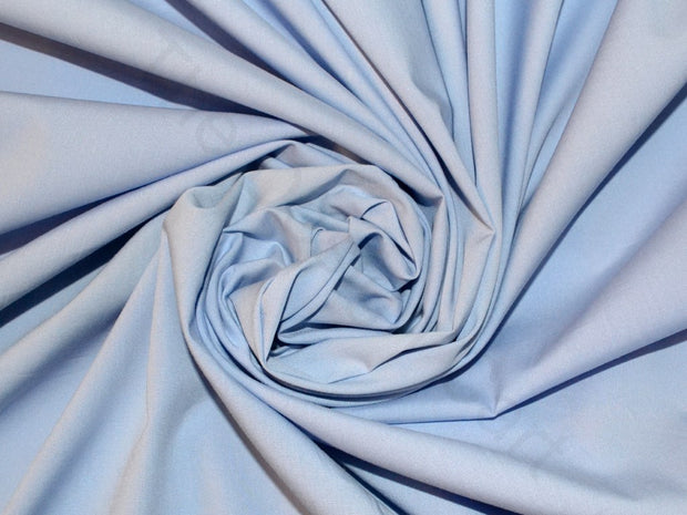Sky Blue Poplin Lycra Fabric | The Design Cart