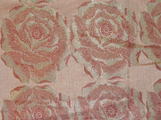 Beige Golden Rose Banarasi Brocade Fabric | The Design Cart