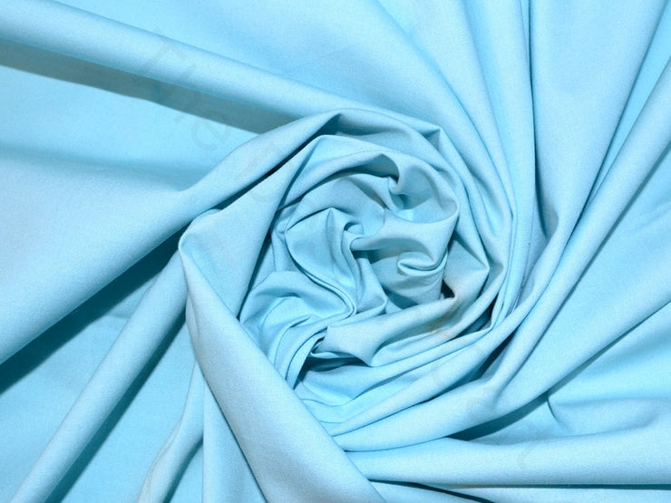 Sea Blue Poplin Lycra Fabric | The Design Cart