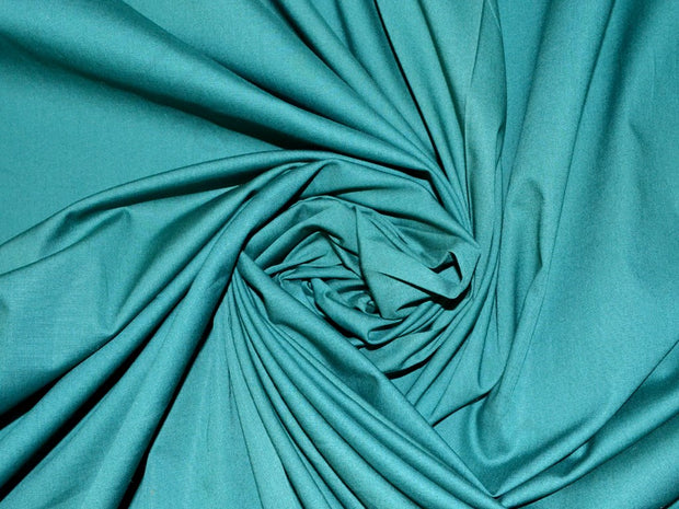 Dark Green Poplin Lycra Fabric | The Design Cart
