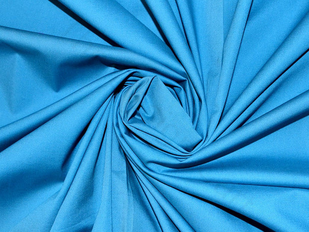 Blue Poplin Lycra Fabric | The Design Cart