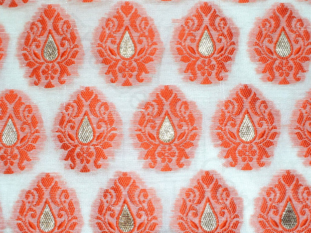 Orange Motifs Chanderi Brocade Fabric | The Design Cart