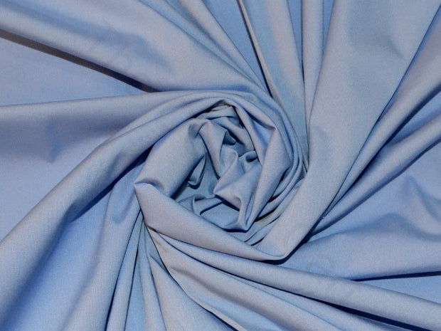 Cornflower Blue Poplin Lycra Fabric | The Design Cart