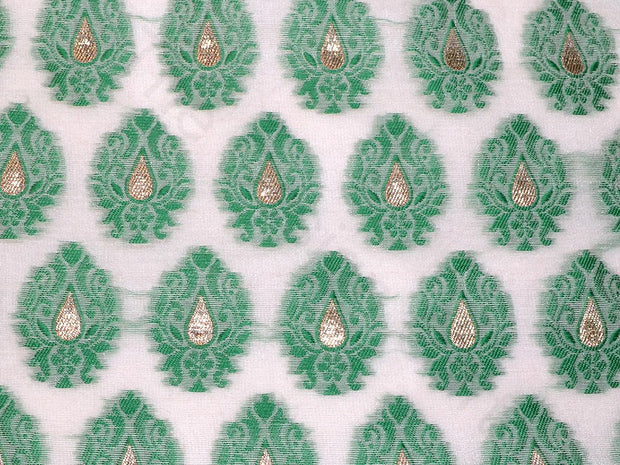 Green Motifs Chanderi Brocade Fabric | The Design Cart