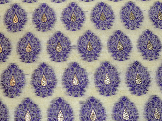 Purple Motifs Chanderi Brocade Fabric | The Design Cart